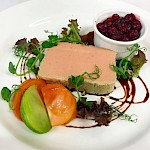 Smooth Chicken Liver Parfait with cranberry compote & balsamic jus