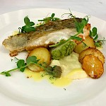 Pan fried cod, cauliflower puree, sauteed herb potatoes, dill & caper butter sauce