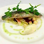 Pickled mackerel fillet, fennel, apple & beetroot salad & horseradish mousse